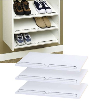 Easy Track 2 Ft. W. x 14 In. D. Laminated Shoe Shelf, White (3-Pack)