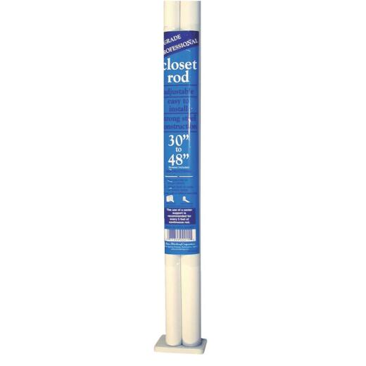 John Sterling Closet-Pro 30 In. to 48 In. x 1 In. Adjustable Closet Rod, White