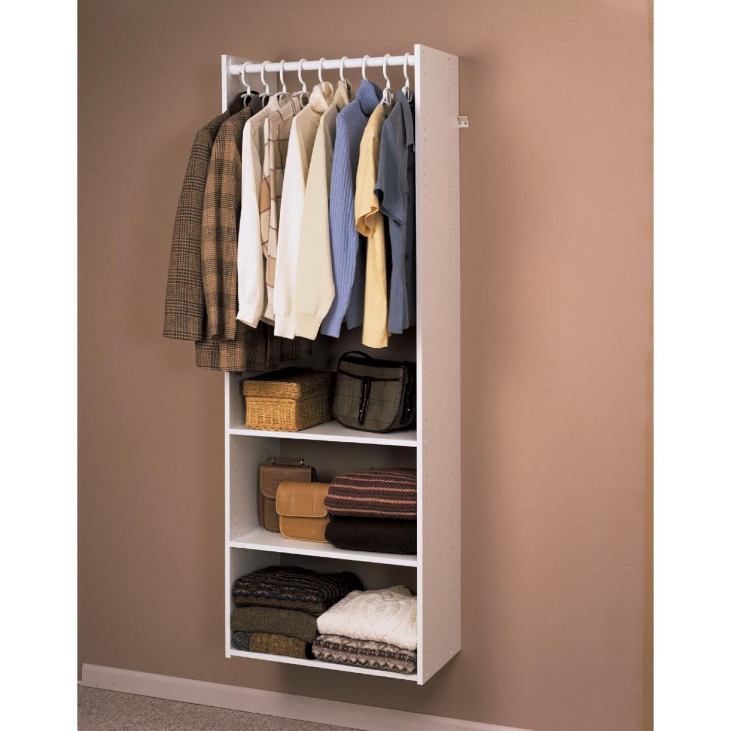 Easy Track Hanging Tower Wall-Mounted Shelving Unit, White Image 1