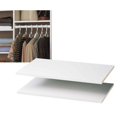 Easy Track 2 Ft. W. x 14 In. D. Laminated Closet Shelf, White (2-Pack)