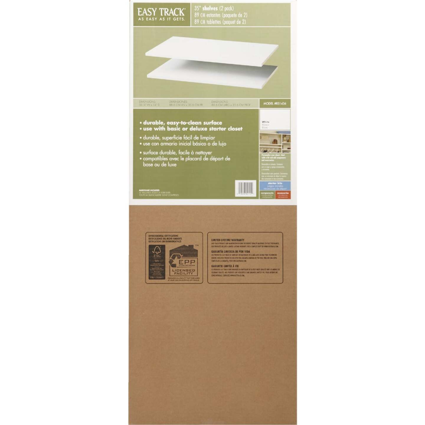 Easy Track 3 Ft. W. x 14 In. D. Laminated Closet Shelf, White (2-Pack) Image 2