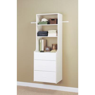 Easy Track Hanging Hutch Wall-Mounted Shelving Unit, White