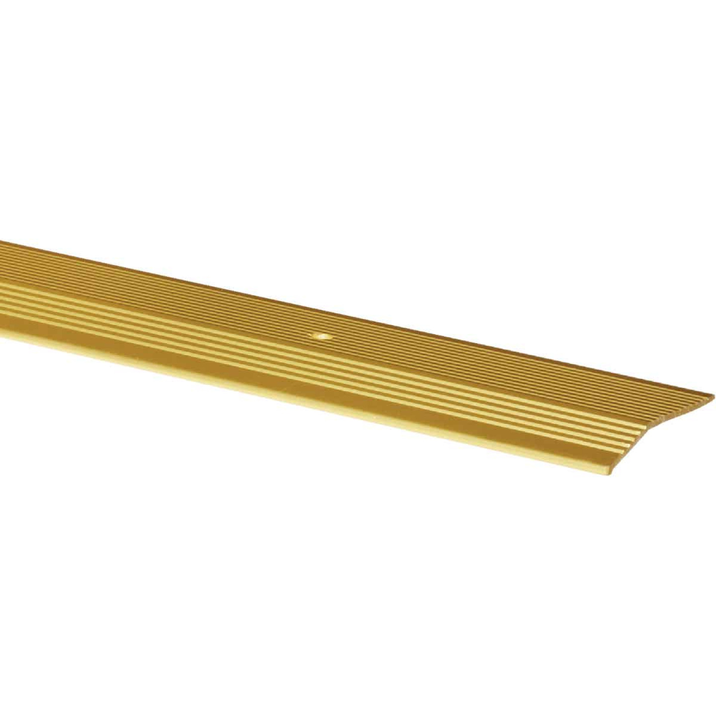 M-D Satin Brass Fluted 2 In. x 3 Ft. Aluminum Carpet Trim Bar, Extra Wide Image 1
