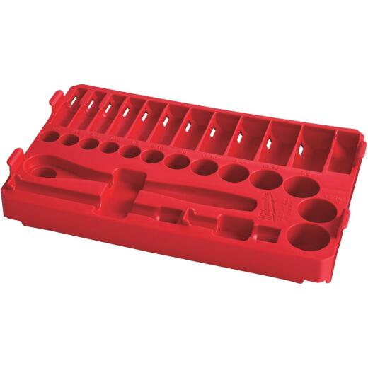 Milwaukee 28-Piece 3/8 In. Drive Standard PACKOUT Tray Ratchet and Socket Holder