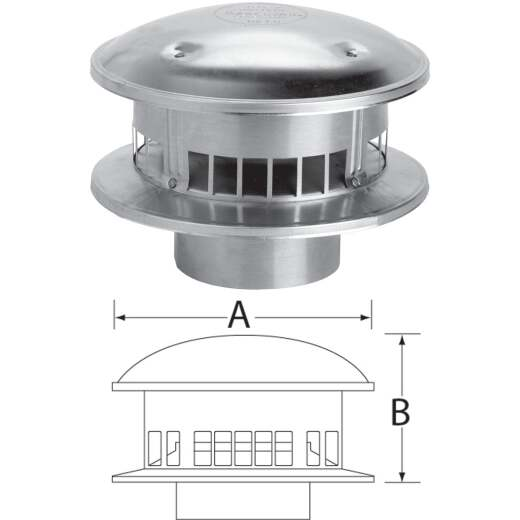 SELKIRK RV 4 In. x 8 In. x 4-1/4 In. Gas Vent Cap