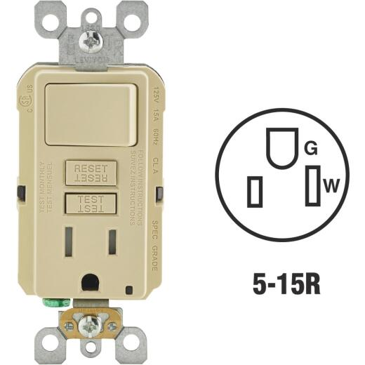 Leviton Ivory 15A Self-Test Tamper Resistant GFCI Switch & Outlet Combination With Wallplate