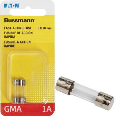 Bussmann 1A GMA Glass Tube Electronic Fuse (2-Pack)