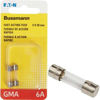 Bussmann 6A GMA Glass Tube Electronic Fuse (2-Pack)