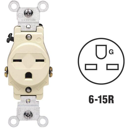 Leviton 15A Ivory Heavy-Duty 6-15R Grounding Single Outlet