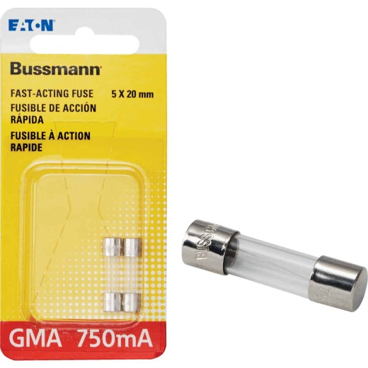 Bussmann 750A GMA Glass Tube Electronic Fuse (2-Pack)