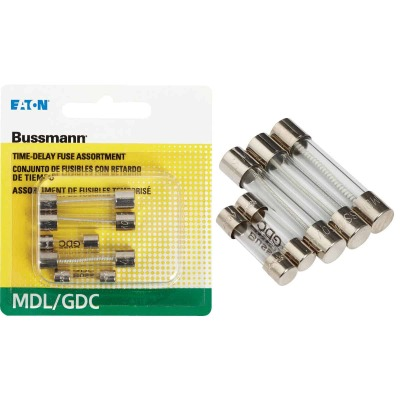 Bussmann 1/2A/1A/2A MDL/GDC Glass Tube Electronic Fuse (5-Pack)