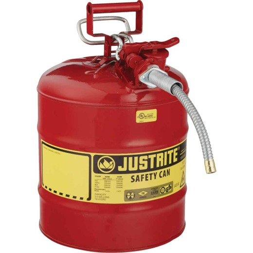 Justrite 5 Gal. Type II Galvanized Steel Safety Fuel Can, Red