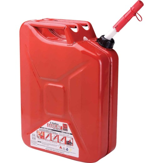 Midwest Can 5 Gal. Steel Gasoline Fuel Can, Red