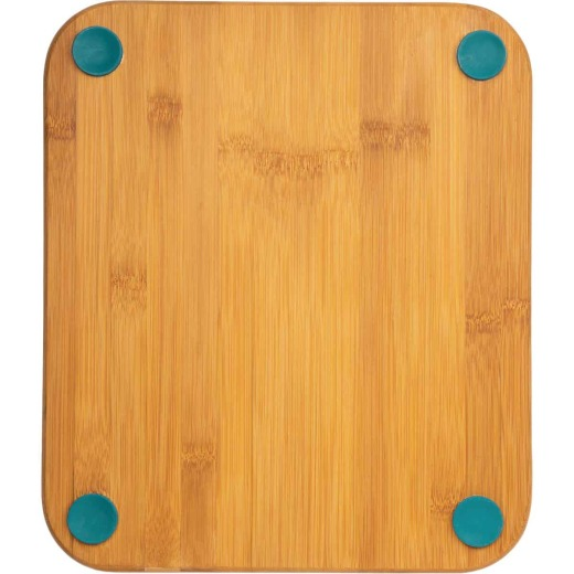 Core Bamboo 12 In. Square Natural Lake Blue Foot Grip Cutting Board