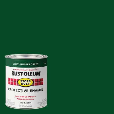 Rust-Oleum Stops Rust Oil Based Gloss Protective Rust Control Enamel, Hunter Green, 1 Qt.