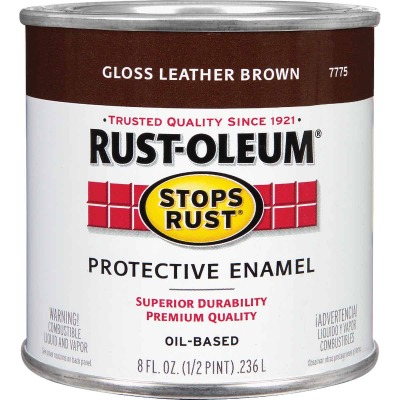 Rust-Oleum Stops Rust Oil Based Gloss Protective Rust Control Enamel, Leather Brown, 1/2 Pt.