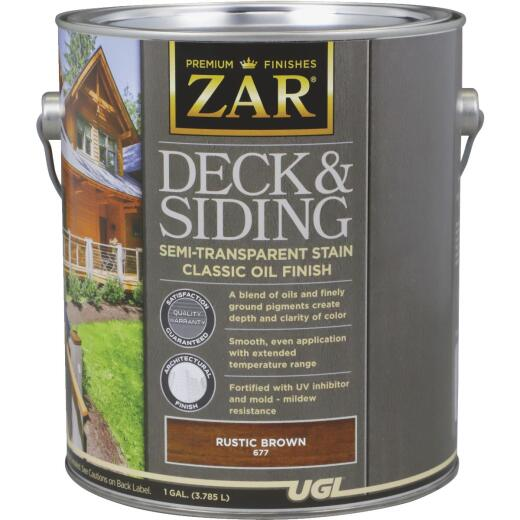 ZAR Semi-Transparent Deck and Siding Stain, Rustic Brown, Gallon
