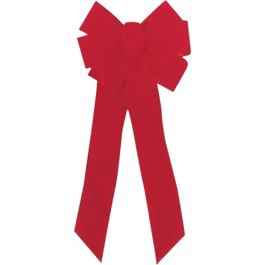 Holiday Trims 7-Loop 10 In. W. x 22 In. L. Red Velvet Christmas Bow